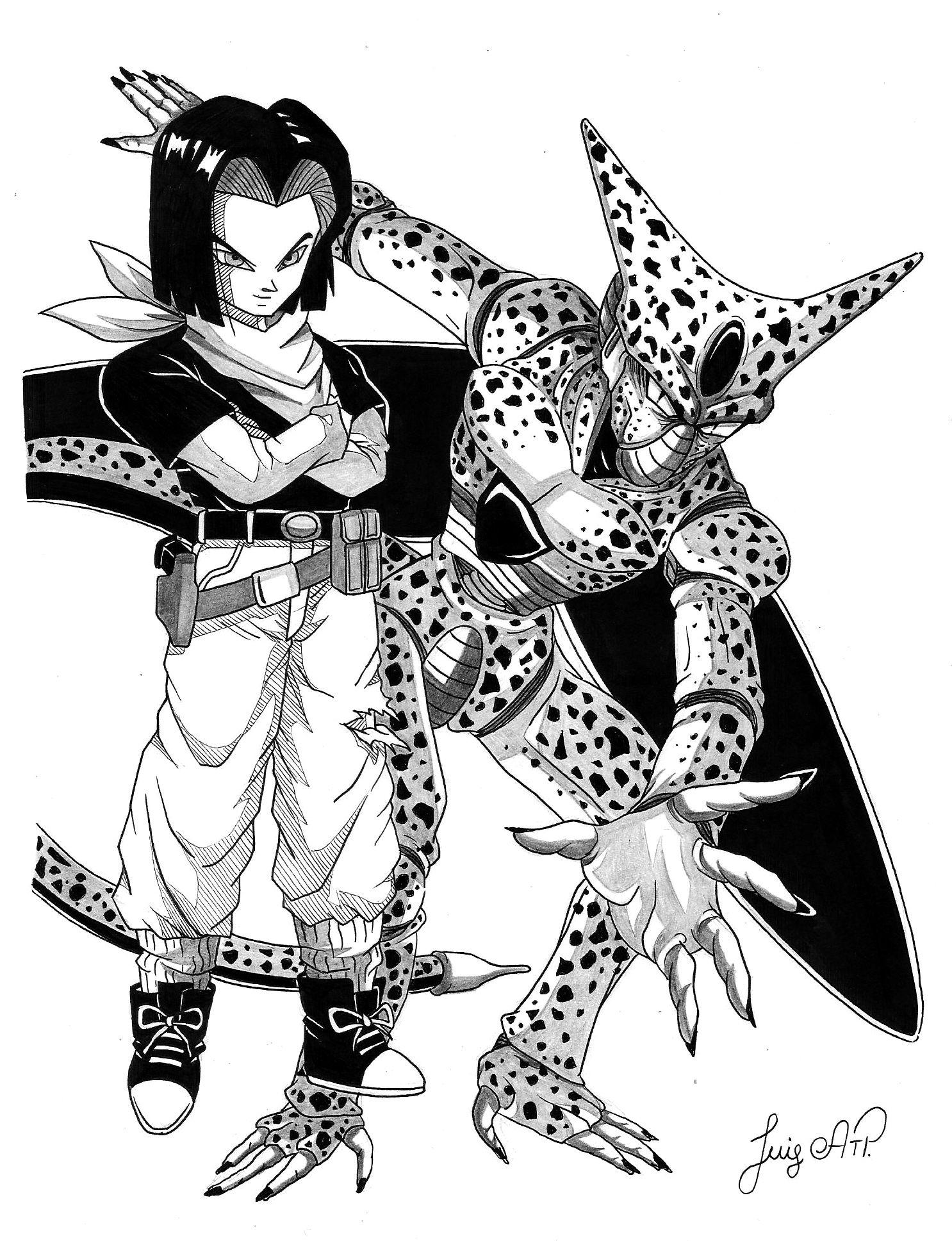 Androide Numero 17 Y Cell Fanart Dragon Ball Z Drawing Dibujo Fanart Dragones Dibujos