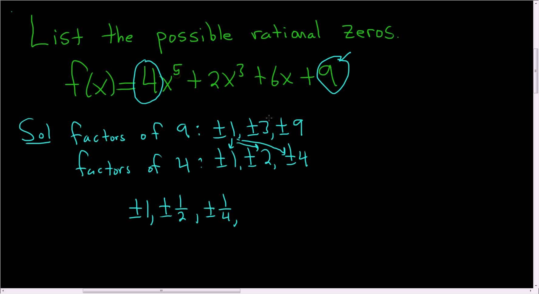 Listing The Possible Rational Roots Zeros