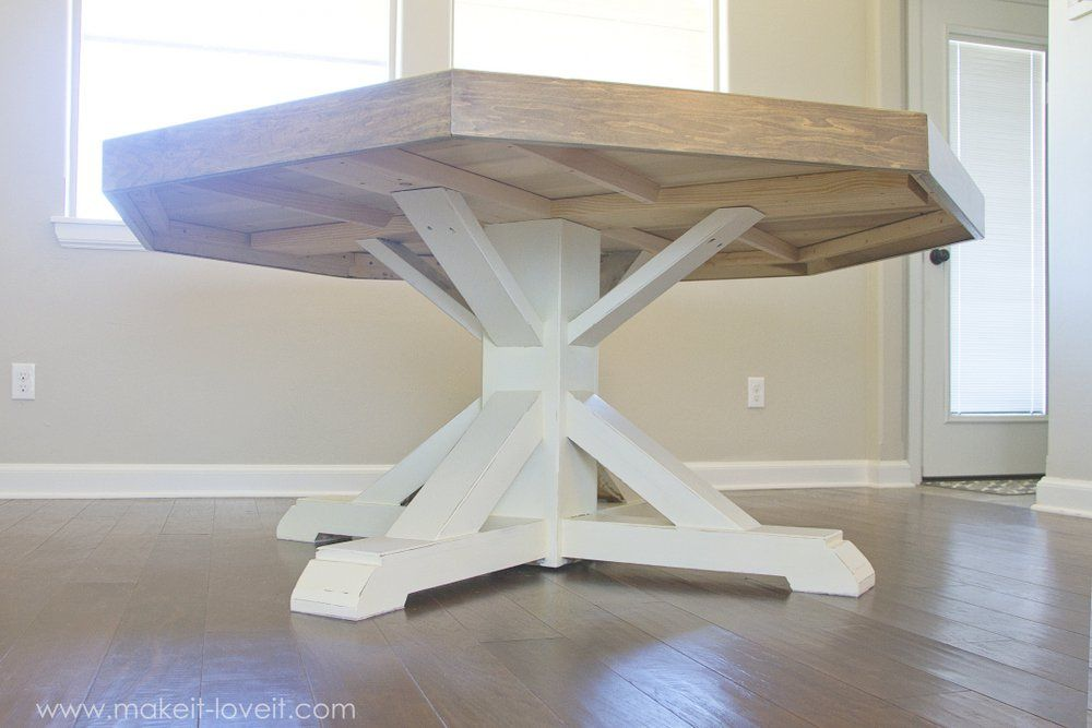 DIY Octagon Dining Room Table…with a farmhouse base! | Diy ...
