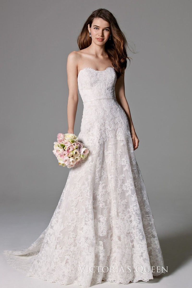 Classic Strapless A Line Lace Wedding Gown With A Sweetheart Neckline And Lace Covered Button Watters Wedding Dress Bridal Wedding Dresses A Line Wedding Dress