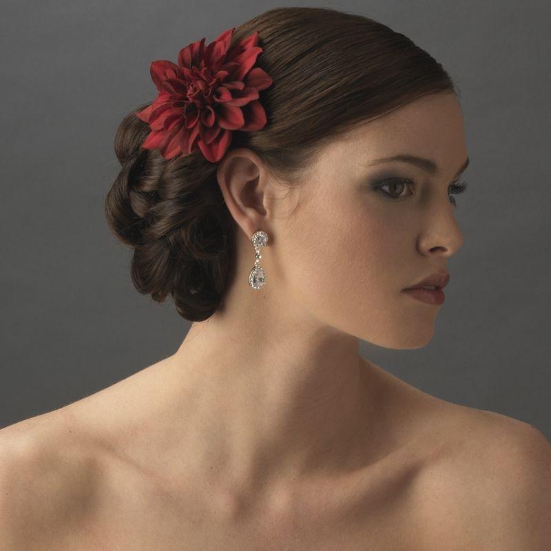 wedding hair accessory red dahlia bridal flower hair clip bridal tiaras boutique
