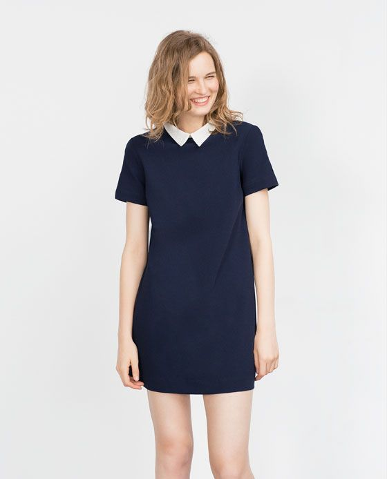Image 1 of DRESS WITH CONTRASTING COLLAR from Zara | Mini