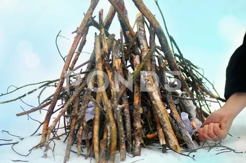 Photo of Bonfire campfire in clearing in winter forest with snow Stock Photos #AD ,#clear…