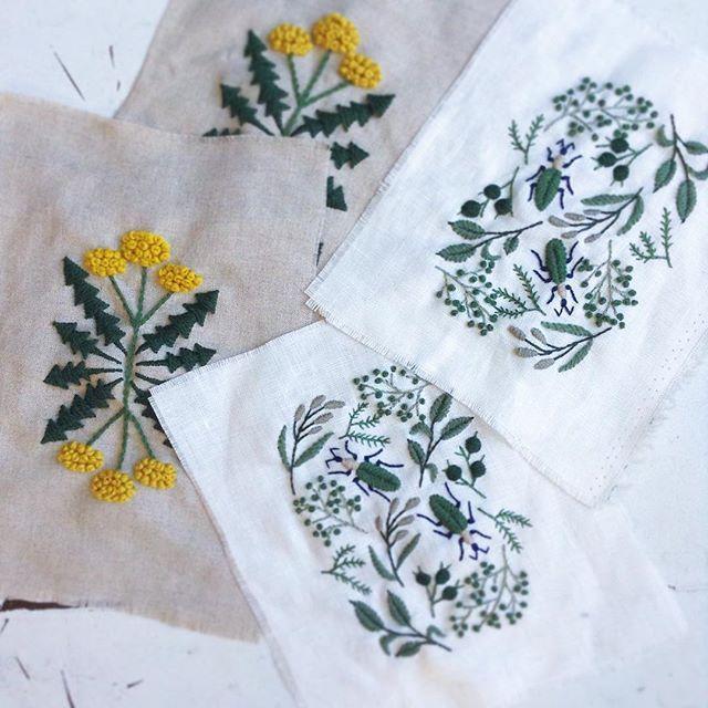 今日もたくさん作ります✨  #embroidery #刺繍 #handmade #needlework #linen #wool #woolstitch #stitch #刺绣