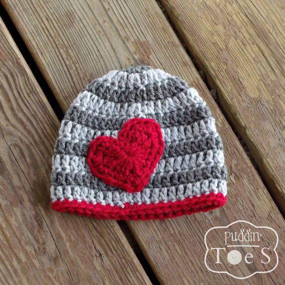 734412d50cd Newborn Crochet Valentine s Day Hat Boy Valentine by puddintoes ...