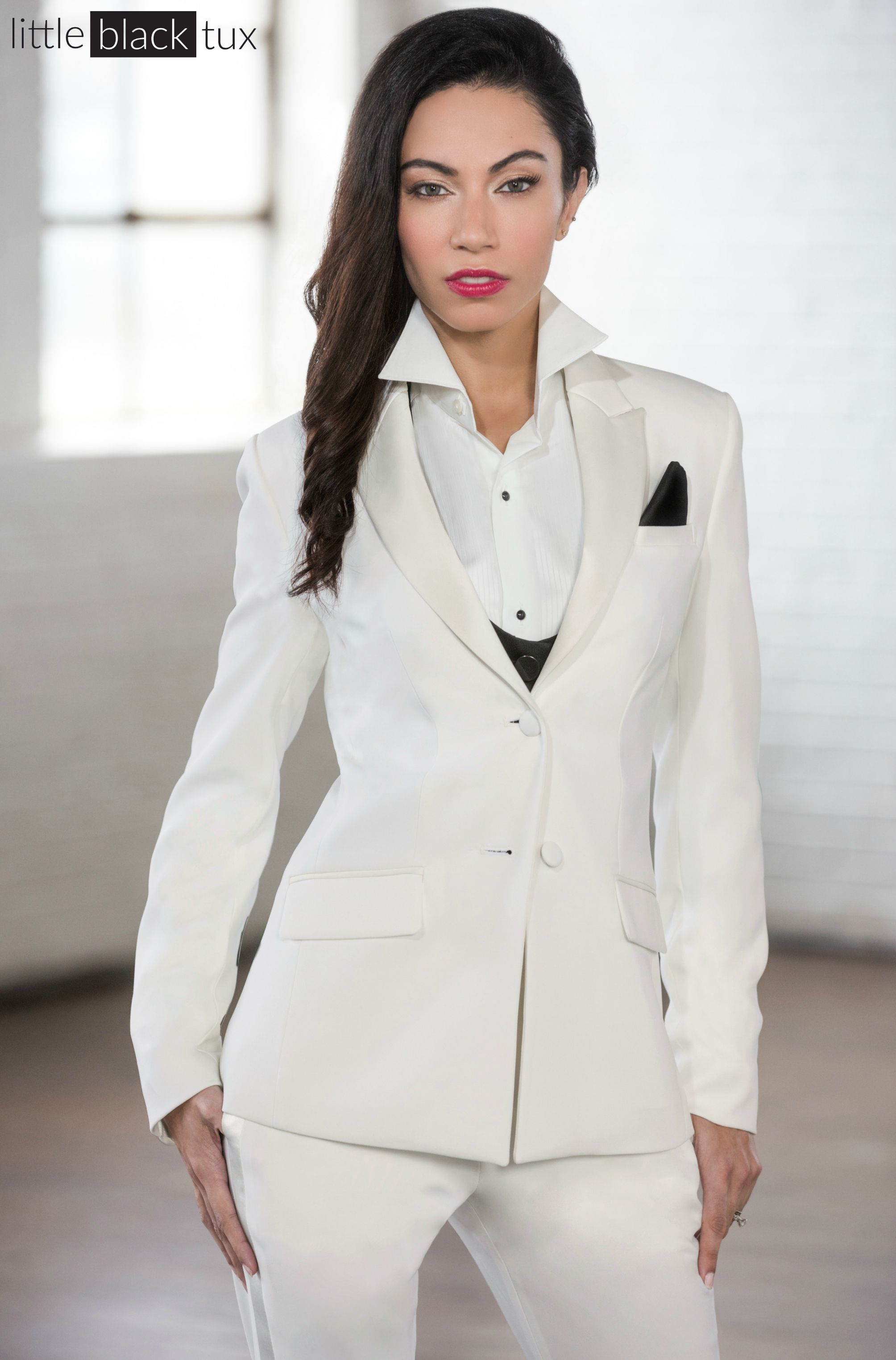 62583a9f22d7b Women s Ivory Diamond White Tuxedo   Ladytux. Peak Lapel