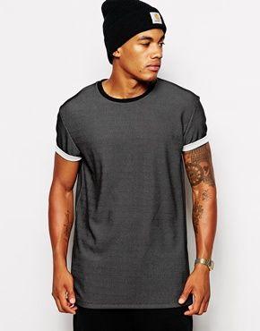 ASOS – T-Shirt mit Skater-Passform, Netzoptik und aufgerollten Ärmeln