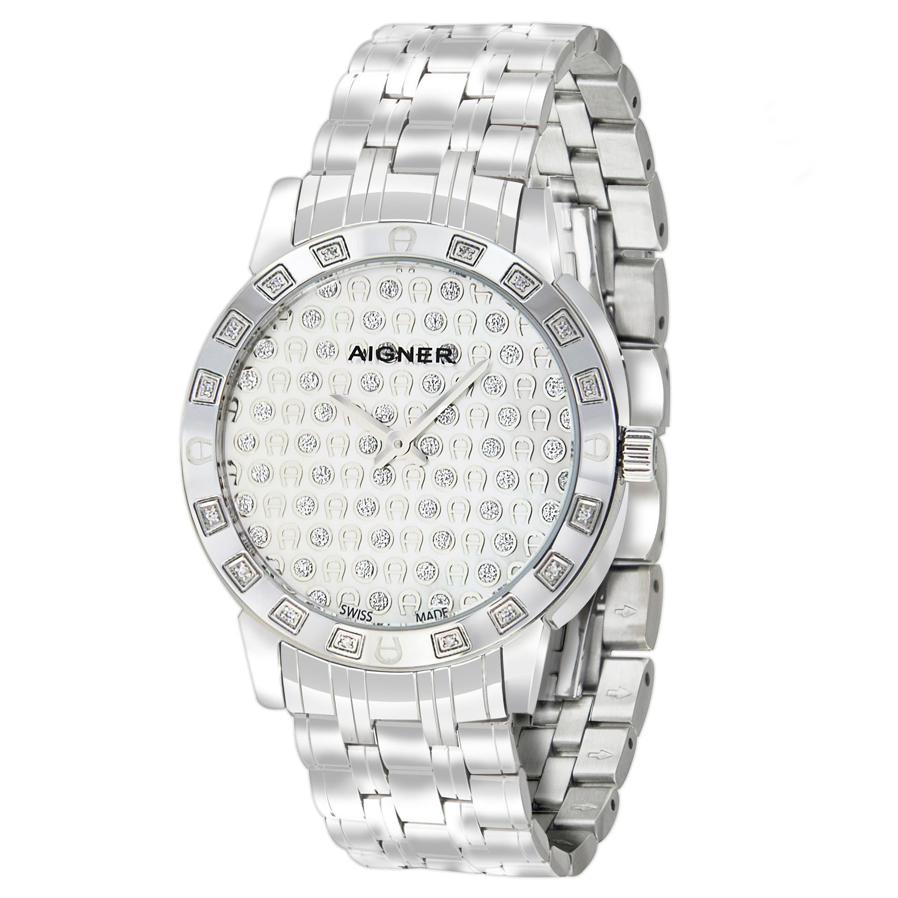 Aigner Cortina Ladies Stainless Steel Diamond Watch Women Bracelet A26360
