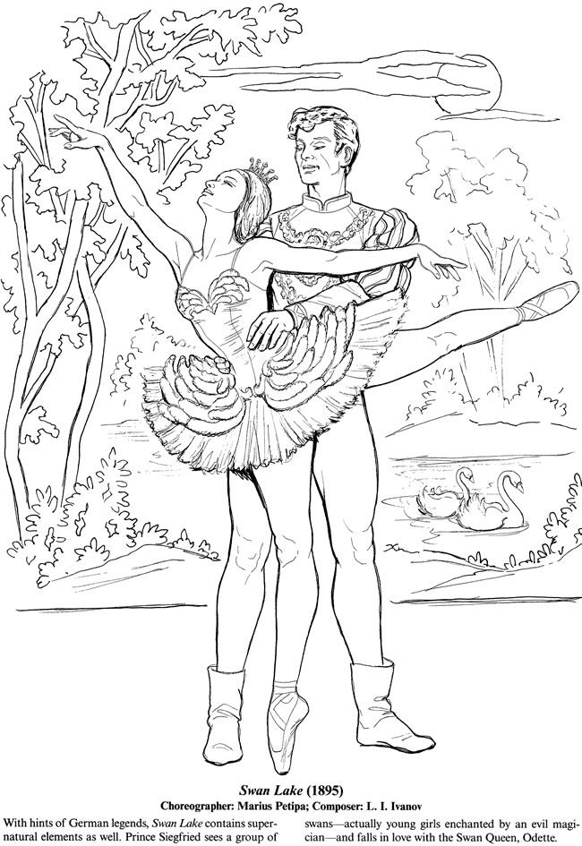 Favorite Ballets Coloring Book Dover Publications Knizhka