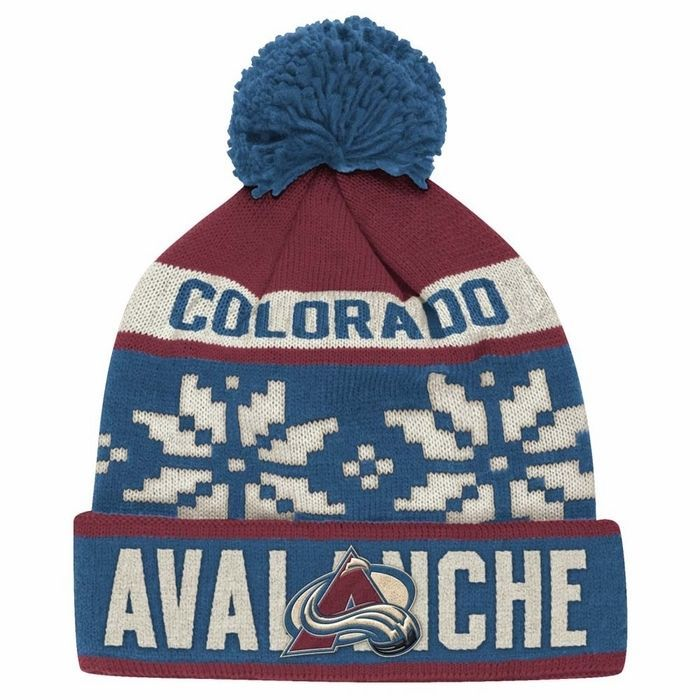 b29d4af1 Colorado Avalanche NHL Reebok Face-Off Snowflake Cuffed Knit Hat ...