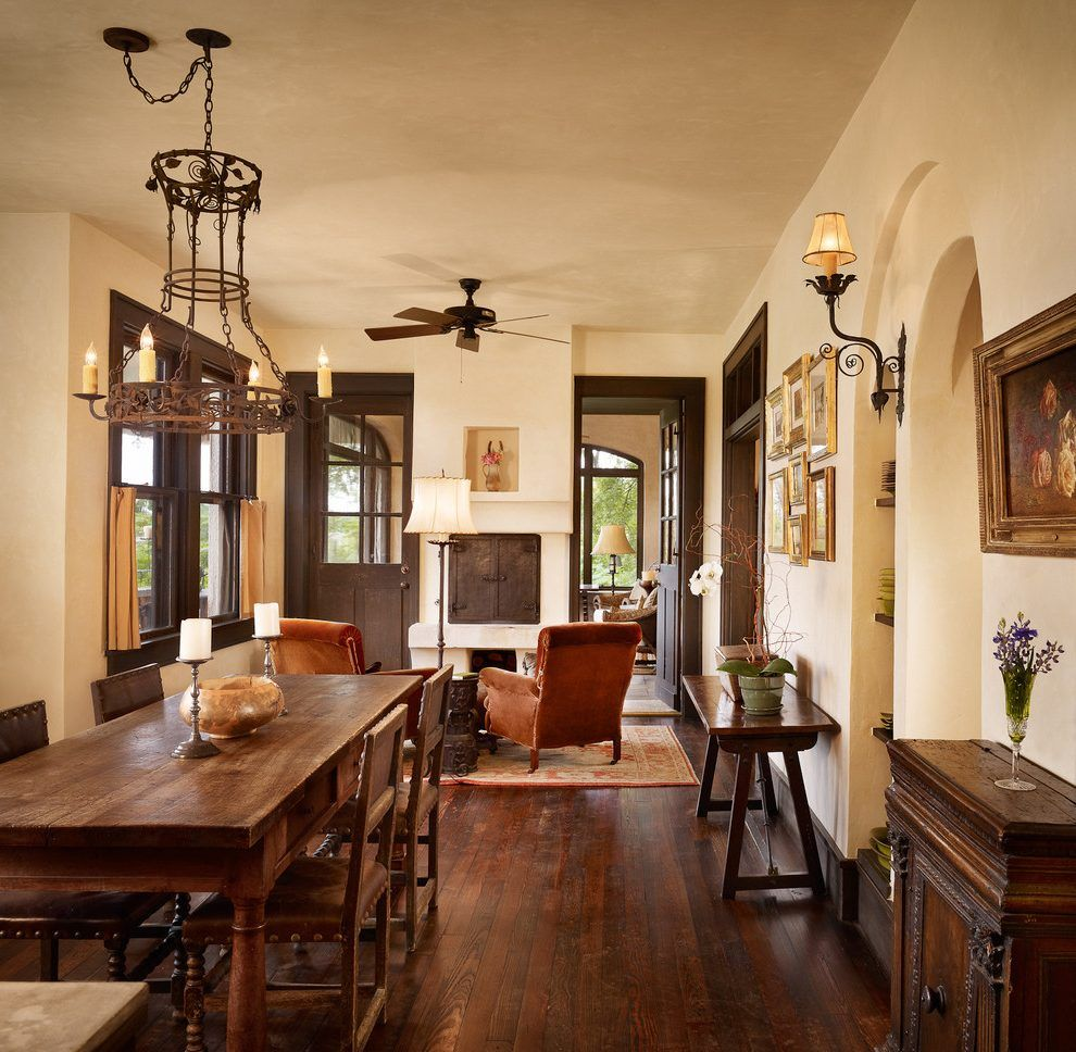 Light Walls Dark Trim Dining Room Mediterranean With Brown Door Wood Floor
