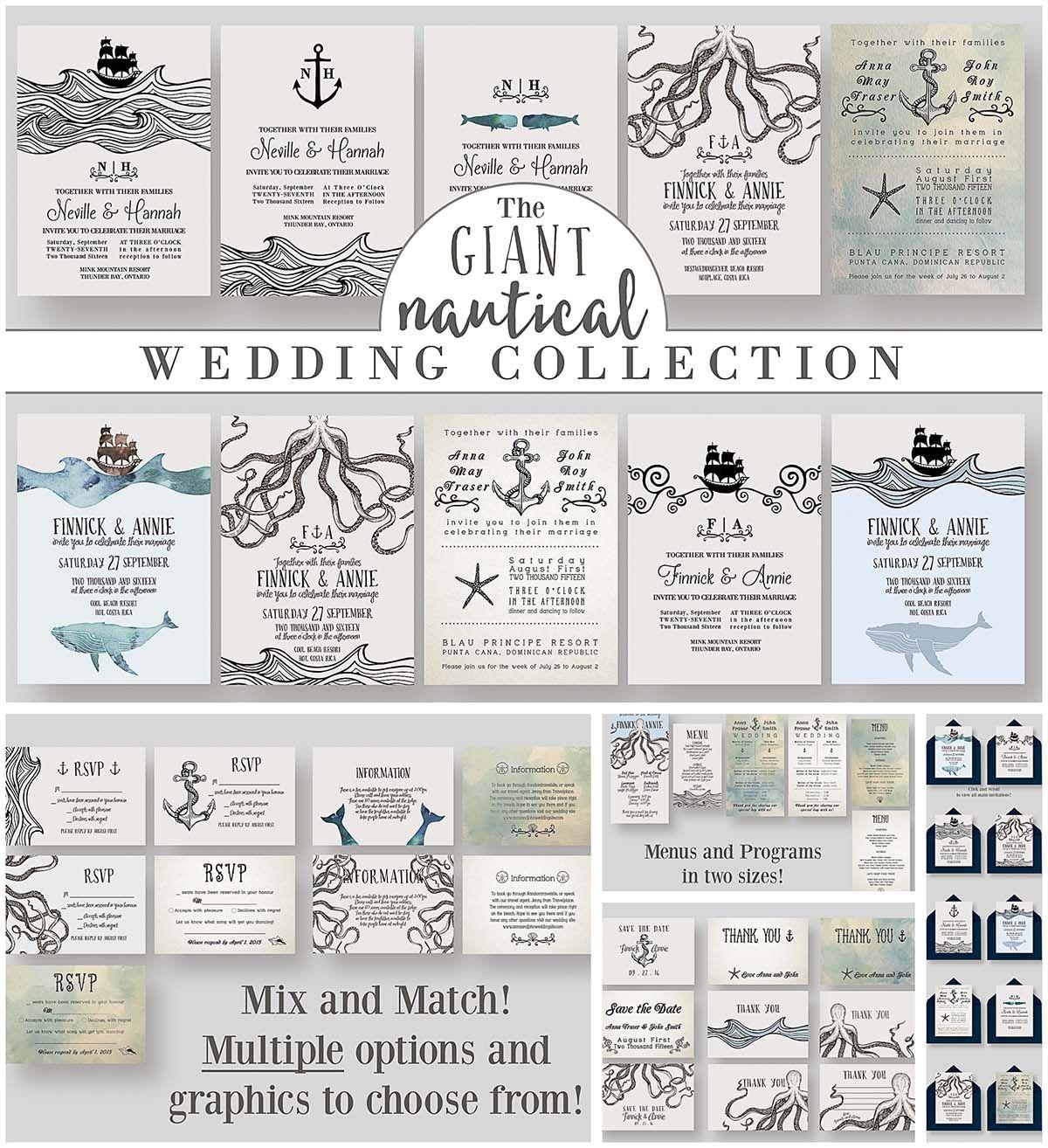 Giant nautical wedding collection   Free Wedding Invitation Cards ...