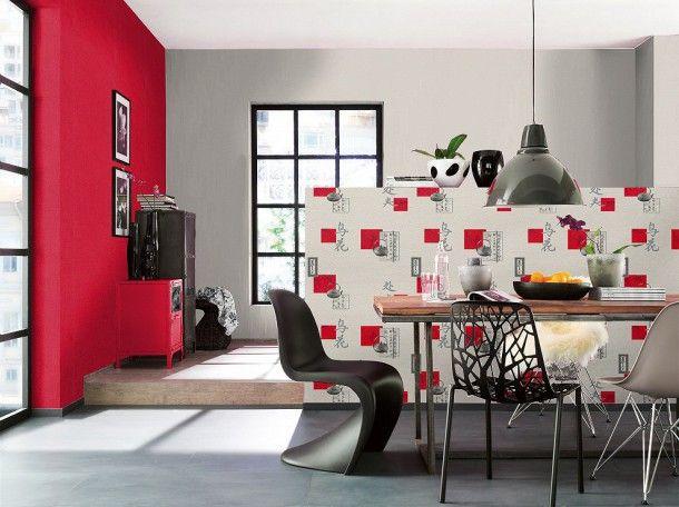 Tapete grau rot Natur Aqua Relief Rasch 830811 Küche