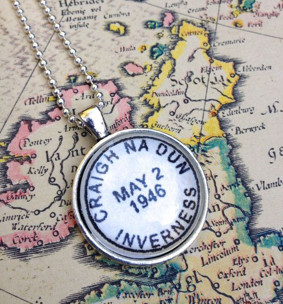 Outlander fan bling! Vintage style postmark necklace of that fateful place and date: Craigh na Dun, May 2, 1946 -or- 1945. by CrowBiz. Also available as a key ring.