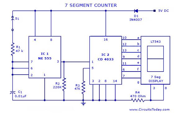 Seven 7 Segment Counter Circuit With Led Display Diagram And
