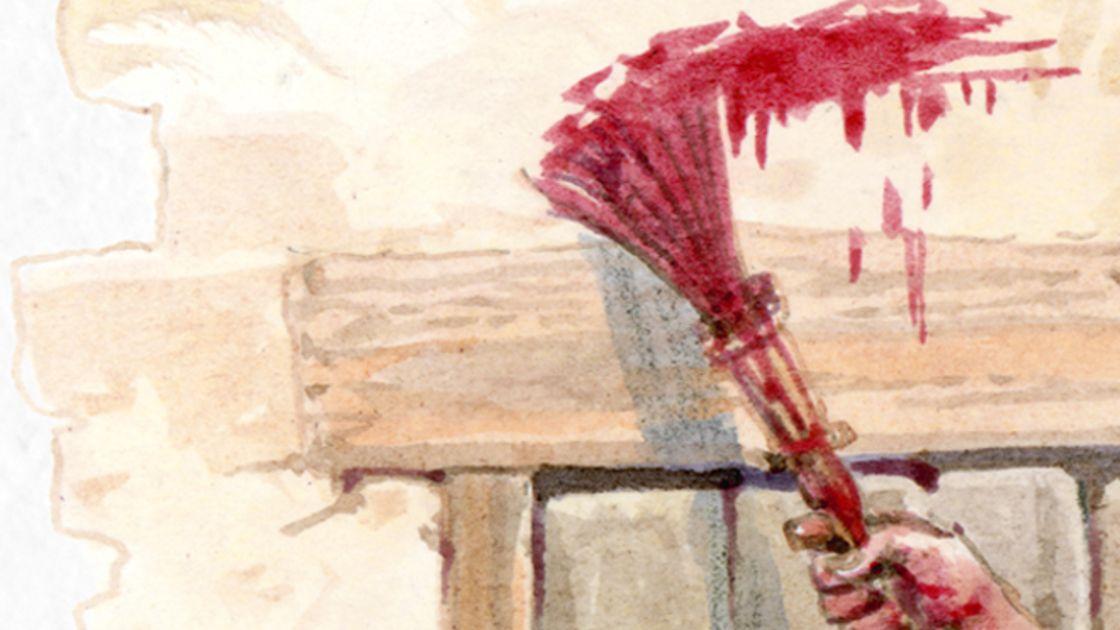 Illustration of Israelite man painting blood of passover lamb on wooden door post & Illustration of Israelite man painting blood of passover lamb on ...