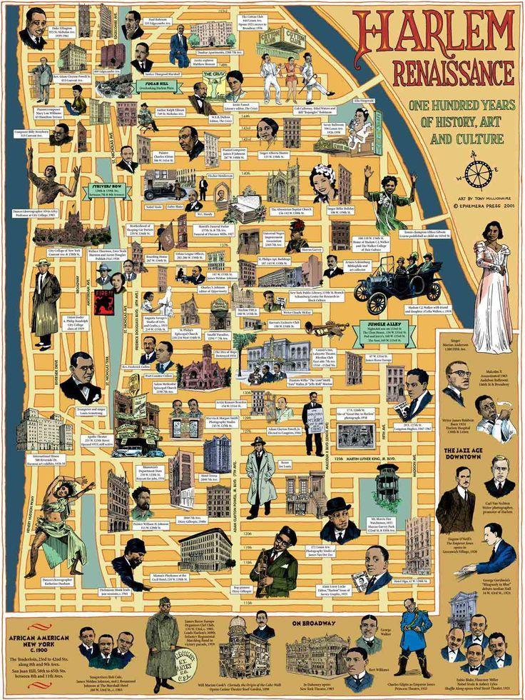 Harlem Renaissance map by Ephemera Press   1920s   Pinterest