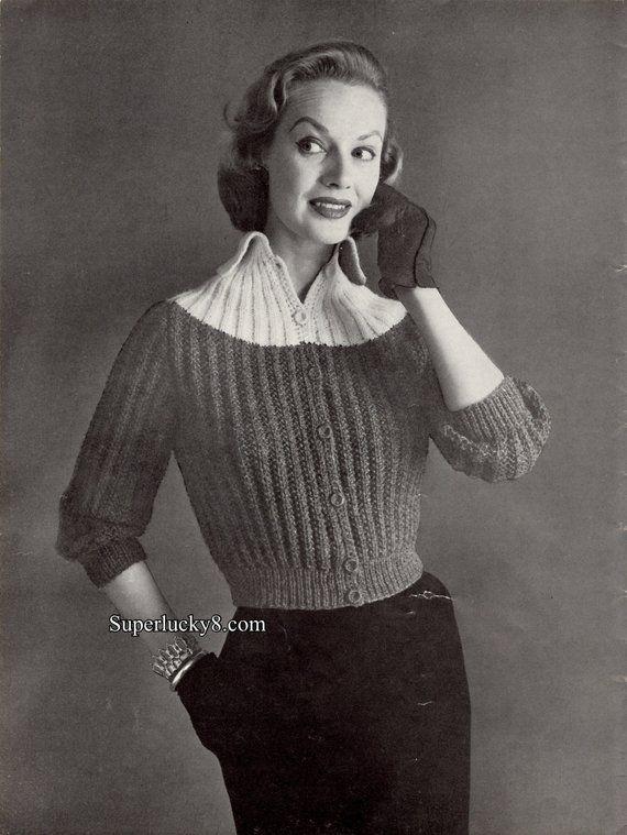 Reprint Vintage Cardigan Knitting Pattern In Pdf Instant Download