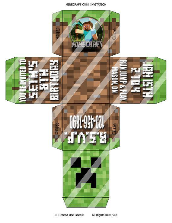 CUSTOM Printable Minecraft 3D Cube Invitation. Print As Many As ...