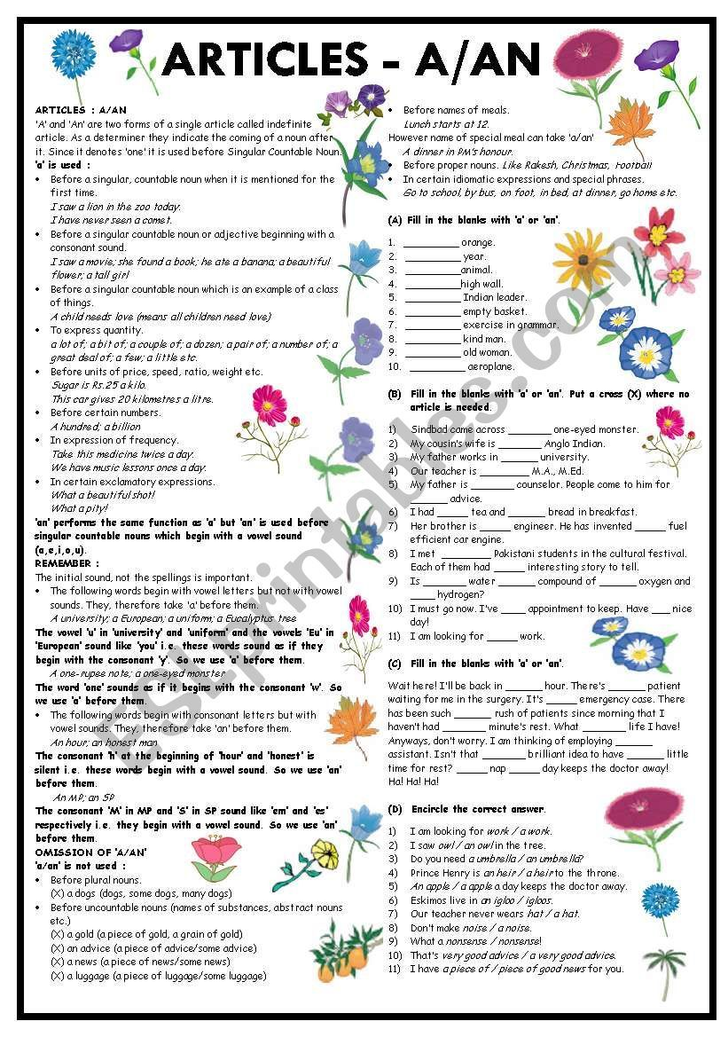 Usage And Exercises On Indefinite Articles A An Answer Key Is Included And The Worksheet Is Co Grammar Worksheets Use Of Articles Downloadable Resume Template [ 1169 x 821 Pixel ]