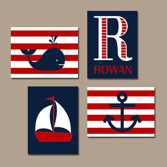 nautical nursery wall art nautical canvas or print sailboat whale anchor baby boy nursery. Black Bedroom Furniture Sets. Home Design Ideas