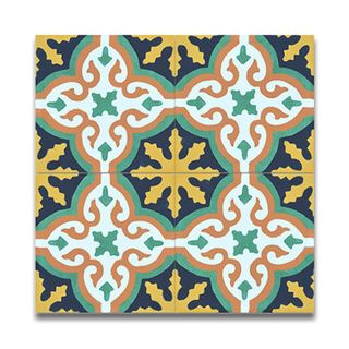 Argana multicolor handmade cement and granite Moroccan tile, 8 Inch X 8 inch floor