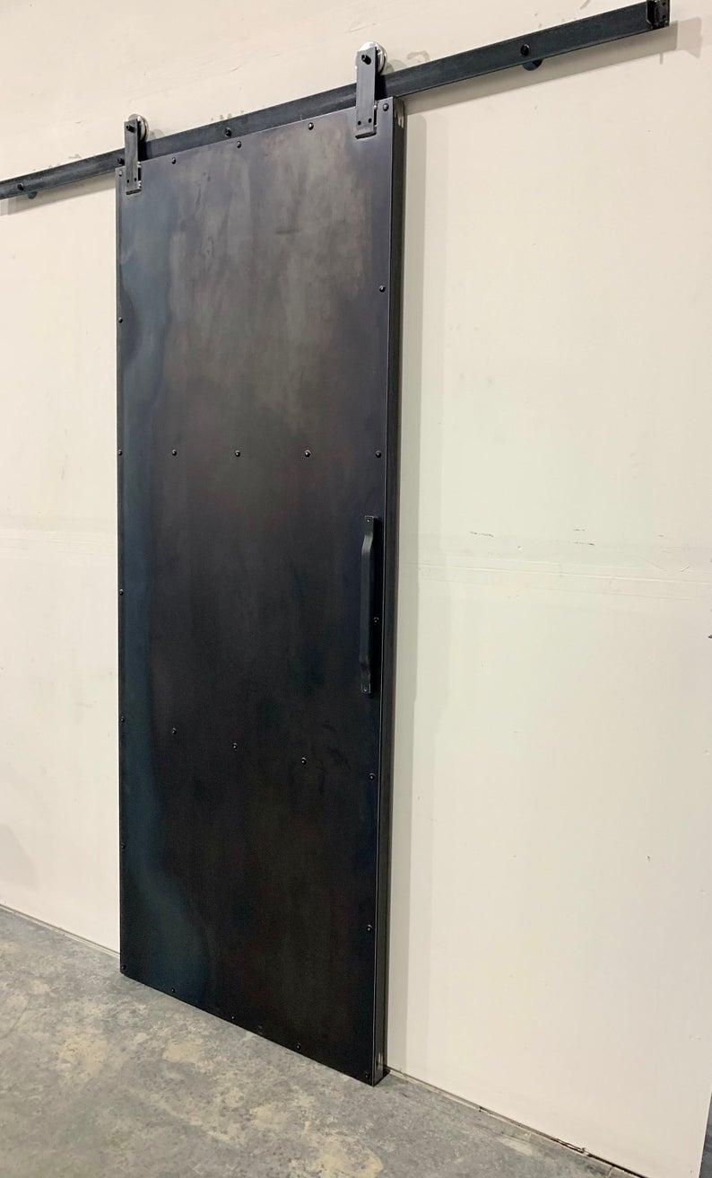 Industrial Metal Sliding Barn Door Steel Modern Custom Etsy Industrial Barn Door Barn Door Industrial Door