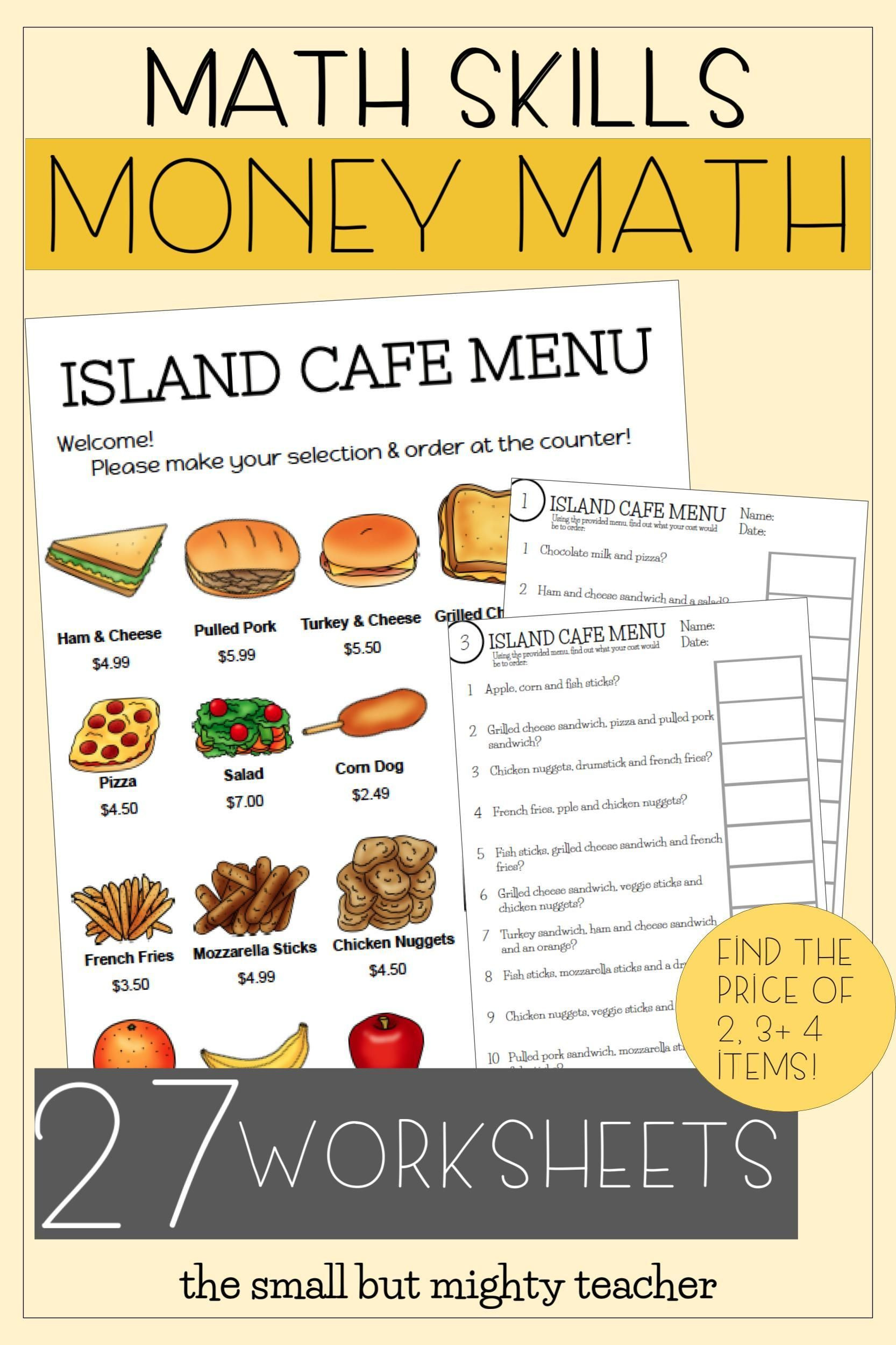 Menu Math Worksheets Bulletin Board Set Up Money Math Money Math Activities Math