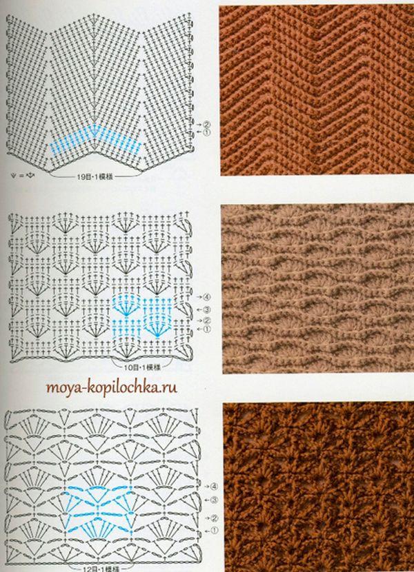 Colección de patrones y motivos, los de punto   puntadas   Pinterest ...