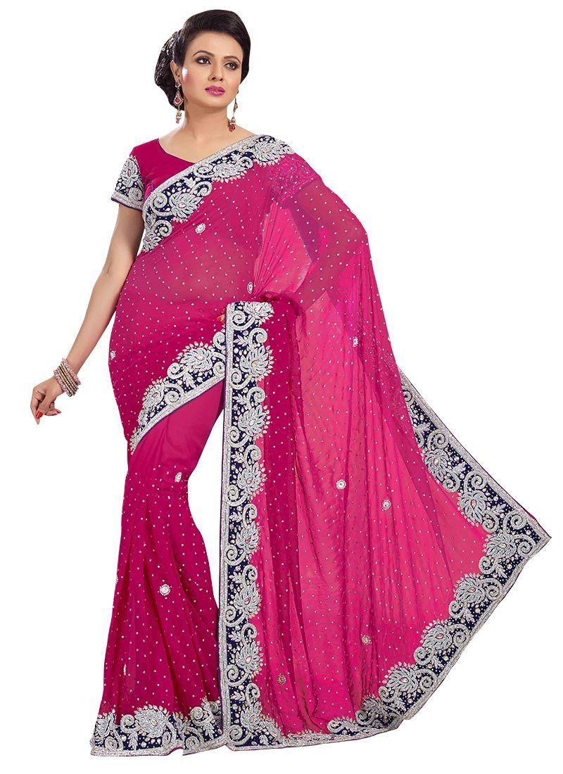 Embellished Pink Georgette Saree | Indian clothes I like | Pinterest