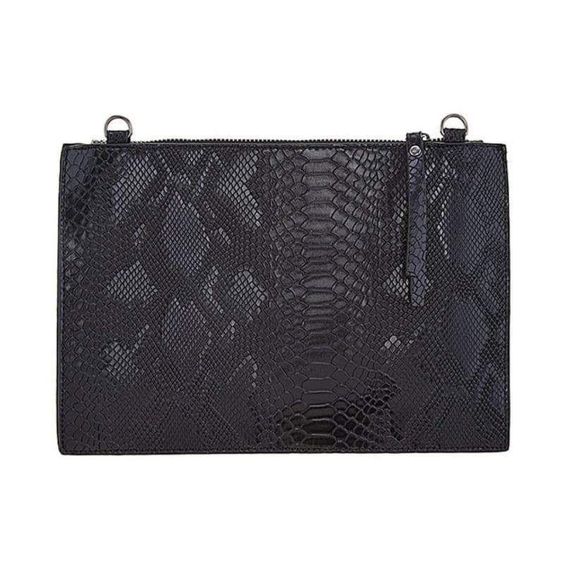 b28b3e8e66f5e Black Metallic Faux Snake Skin Clutch Le Chic Llc Women - Bags Clutches &  Evening