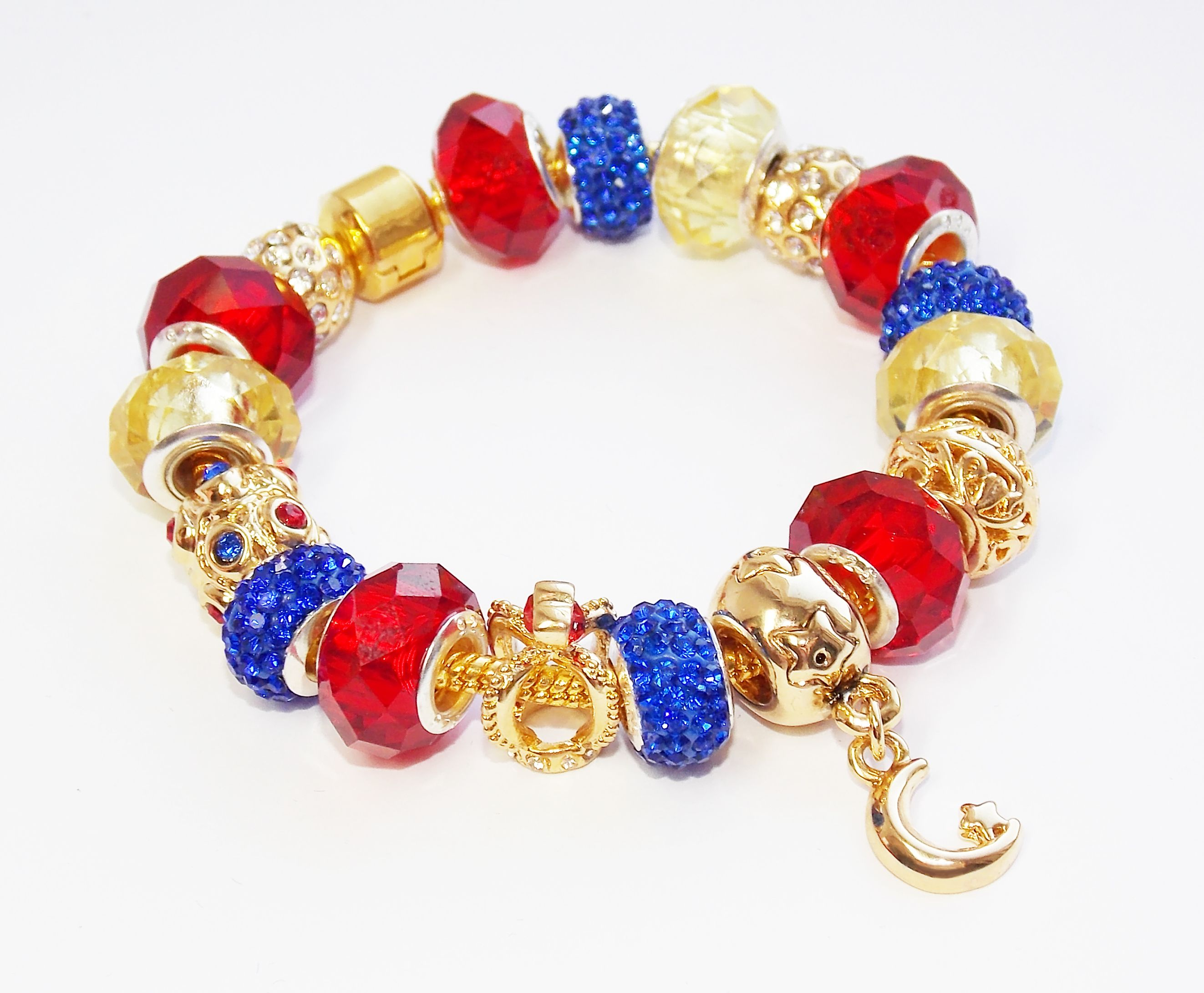 Sailor Moon Bracelet, Handmade By Me Exclusive Pandora Style Jewelry,  Goldplated