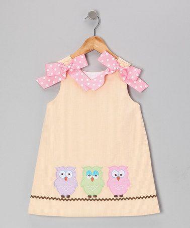 Melon Seersucker Hooty A-Line Dress - Girls