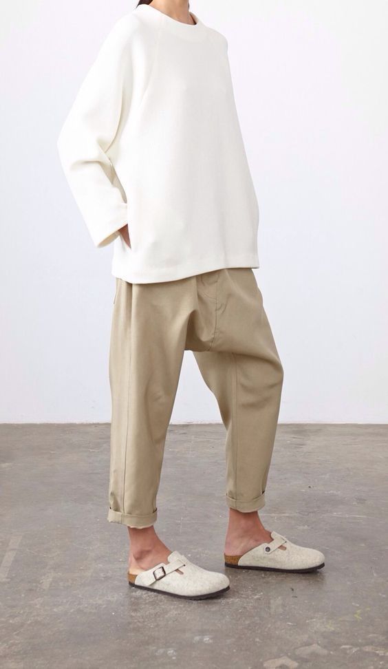 Beige wide pants and white shirt with white shoes | Style