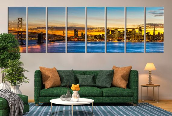 Extra Large San Francisco Skyline And Bay Bridge At Sunset, California  Canvas Print, Extra