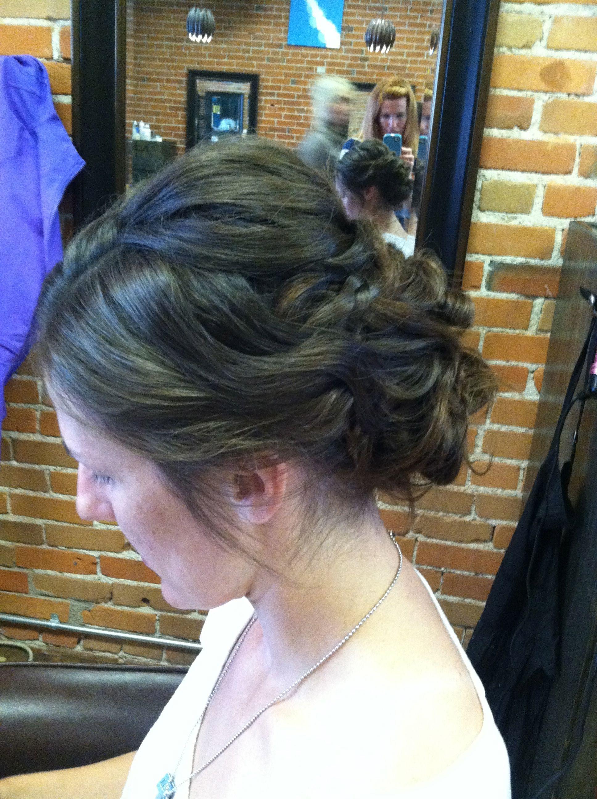 "updo brunette ""piecey"" waves. rustic romance. wedding hair"
