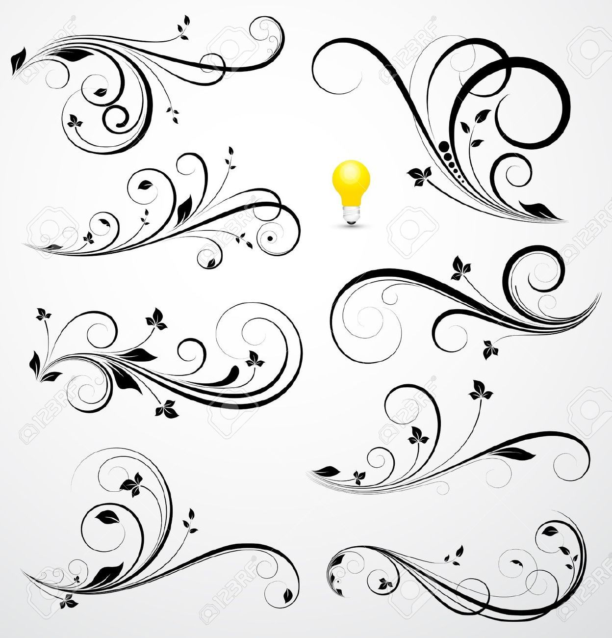 Swirl flower border google search living room wall for Swirl tattoo designs