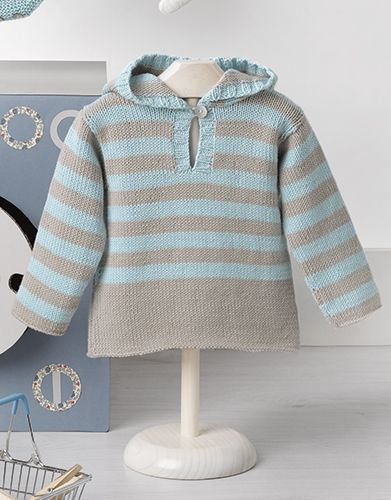 Striped Cotton Hoodie for Baby Free Knitting Pattern. Skill Level: Easy Sizes: 3 months, 6 months, 12 months, 18 months and 24 months Free Pattern #babypullover