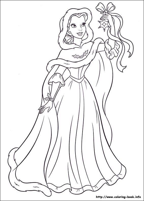 Beauty And The Beast Christmas Disney Coloring Page Disney