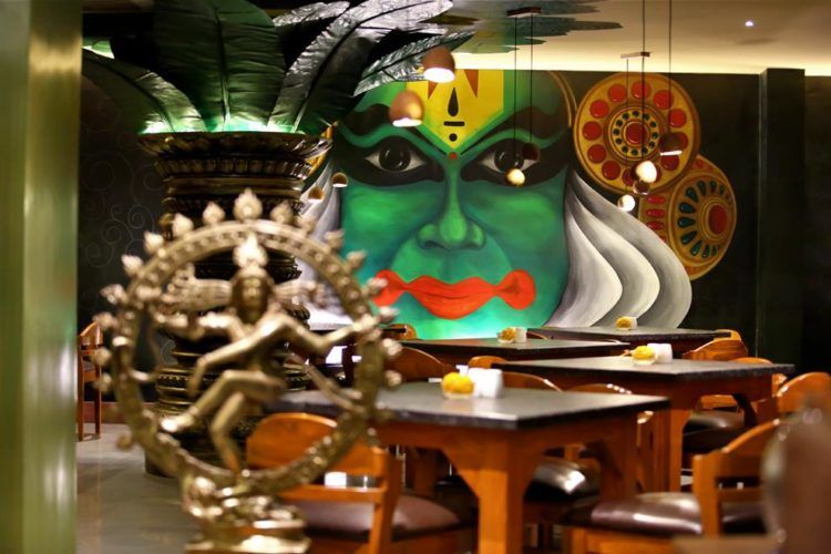 Wall Mural Is A Major Highlight In South Indian Restaurant Wall Murals Restaurant Themes Indian Cafe