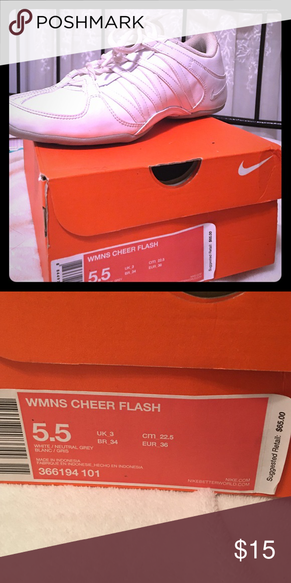 Cheerleading Size 5 5 Nike Cheer Flash With Box Cute And So Much Wear In Them Great Because You Can Just Throw In Wash Size 5 White Nikes Cheer Cheerleading