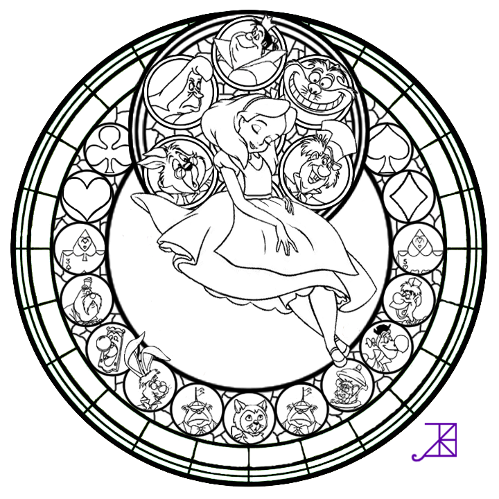 Alice stained glass line art by akili amethyst d4vrh52 png 720x720 pixels