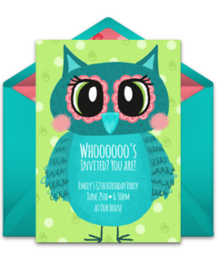 Online invitations from owl parties owl birthday parties and free a collection of free birthday party invitations we love this beautiful illustrated design for filmwisefo Choice Image