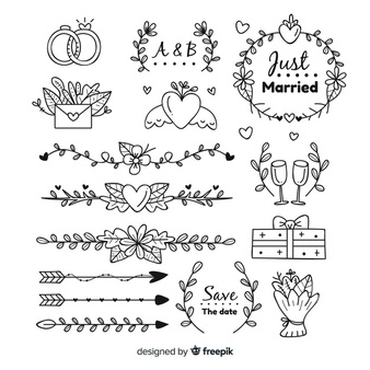 Download Hand Drawn Wedding Ornaments Set For Free How To Draw Hands Hand Drawn Wedding Vector Free