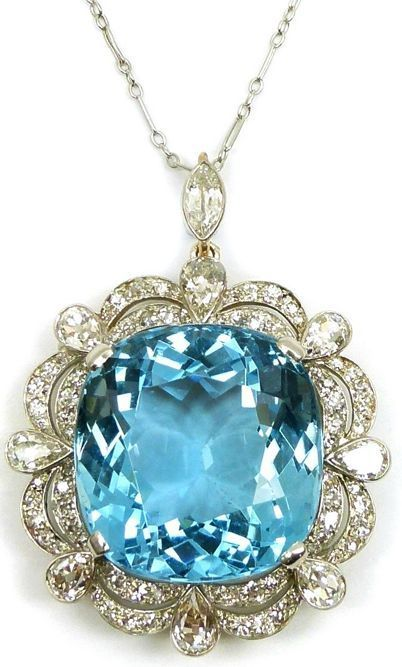 Early 20th century single stone aquamarine and diamond cluster pendant/brooch, c.1920 -- 60 Stunning Jewelry Pieces From Pinterest @styleestate