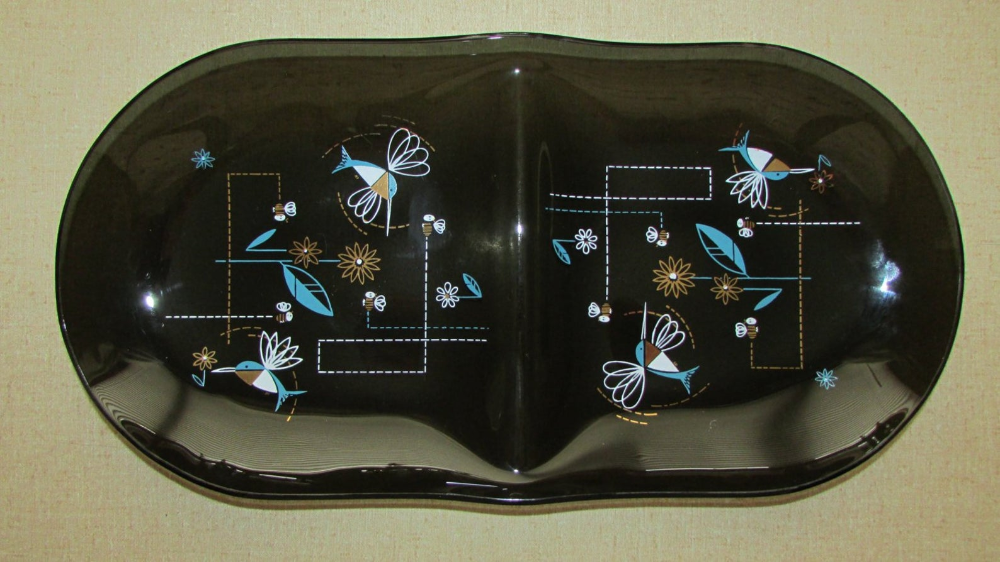 Art Glass Plate Serving Dish Retro Divided Snack Tray