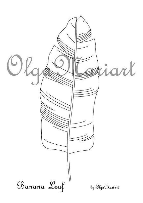 Coloring page,Banana Leaf,Digital download,PDF (With