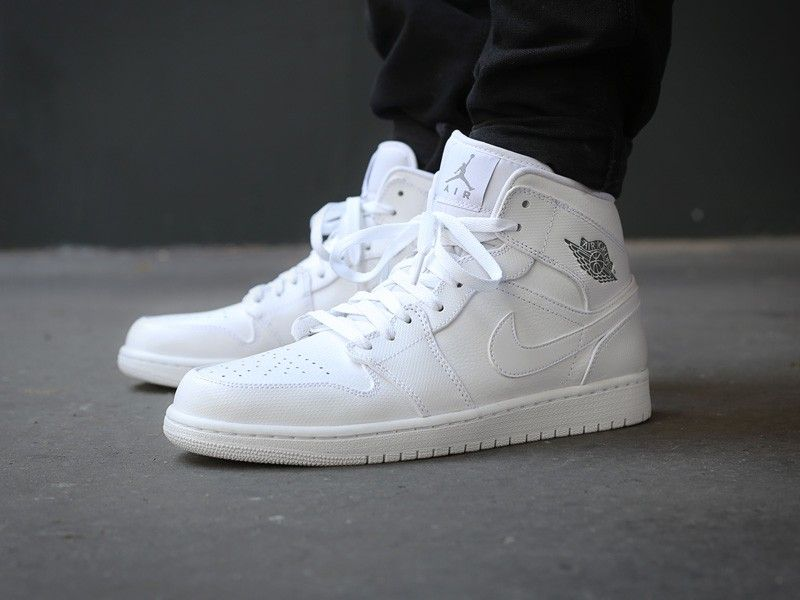 nike air jordan 1 mid white/cool grey-white cardigan