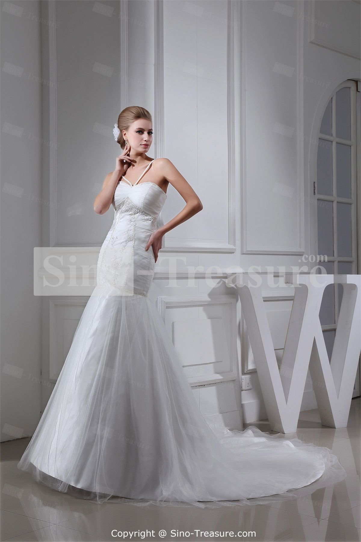 White Beading Sleeveless A-Line Hater Sweetheart Princess Wedding Dress Wholesale Price: US$267.99