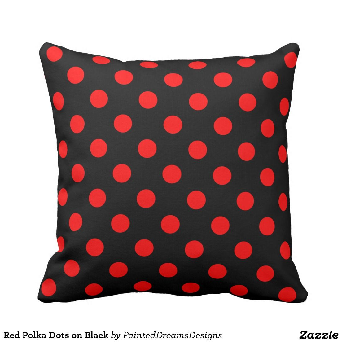 Red Polka Dots on Black Throw Pillow | Decorative Pillows ...